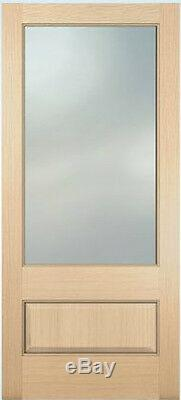 Exterior Hemlock Solid Wood Stain Grade French Doors 1 Lite Raised Bottom Panel
