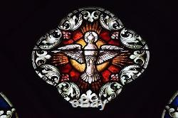 + Fine Older German Stained Glass Church Window, The Holy Spirit + 3 Panels +