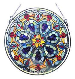 Fire & Ice Tiffany Blue Art Deco Geometric 20 Round Stained Glass Window Panel