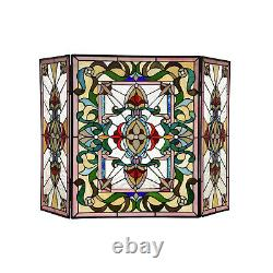 Fireplace Screen Tiffany Style Stained Glass 3-Panel 28in H x 44in W