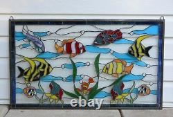 Fish under the Sea Handcrafted stained glass window panel. 34.5 x 20.5