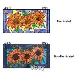 Floral Sunflower Design Stained Glass Horizontal Window Panel Suncatcher