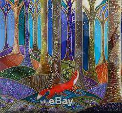 Fox in the woods. Original Stained glass style hand painted glass panels to hang