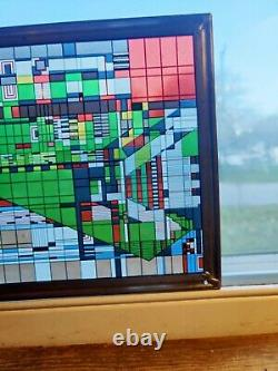 Frank Lloyd Wright Foundation Stained Art Glass Panel Rare Image