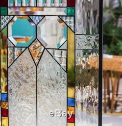 Frank Lloyd Wright Insprd Geometric Tiffany Style Stained Glass Window Panel OWL