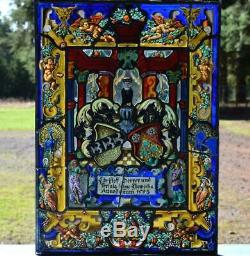 French Antique Stained Leaded Glass Hand Painted Panel withFigures