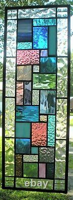 GEOMETRIC QUILT 23-1/2 x 9 REAL stained glass window panel hangs 4 ways