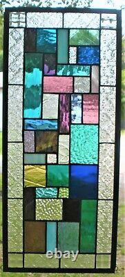 GEOMETRIC QUILT 23-3/4 x 11 REAL stained glass window panel hangs 2 ways