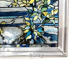 GLASSMASTERS 1990 Louis C Tiffany Peacock Stained Glass Window Panel Sun Catcher