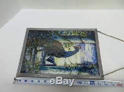 GLASSMASTERS Louis C. Tiffany Peacock Stained Glass Window Panel Sun Catcher