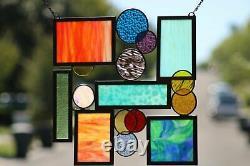 Geometric Modern Stained Glass Window Panel, Hanging 19 1/2 x 19 1/2