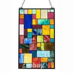Geometric Stained Glass Hanging Window Panel Tiffany Style Suncatcher 25H