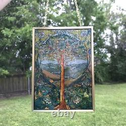 Glassmasters Louis C Tiffany Tree of Life Stained Glass Panel Brass Frame Signed