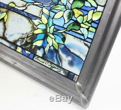 Glassmasters Tiffany Stained Glass Suncatcher/Window Panel Peacock 14x9.5 1990