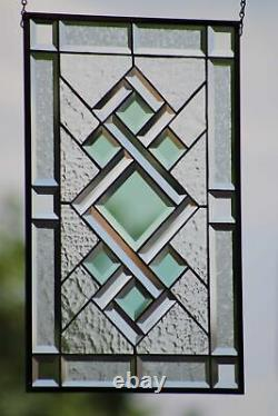 Go Green´`-Stained Beveled Glass Window Panel, 22.5x16.5 Ready to Hang