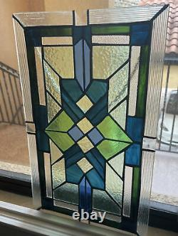 Gorgeous Beveled / Architectural Stained Glass Window Panel 18.5 X 11 Inches