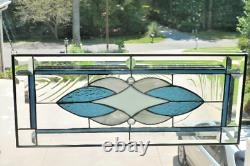 Gorgeous Blue/White/Gray Stained Glass Window Panel