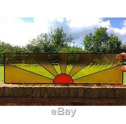 Hand Crafted Stained Glass Window, Above Door Panel, Sun Design, Orange, Yellow