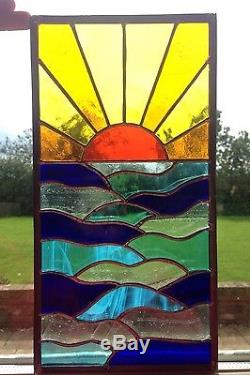 Hand Crafted Stained Glass Window Door Panels Sun Set Sea, Made to Order
