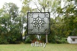 Handcrafted All Clear stained glass Beveled window panel 16 x 16