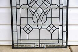 Handcrafted All Clear stained glass Beveled window panel 16 x 24