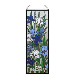Handcrafted Iris Floral Tiffany Style Stained Glass Window Panel 11.5 X 31.5