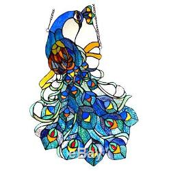 Handcrafted Peacock Design Tiffany Style Stained Glass Window Panel 17 x 25