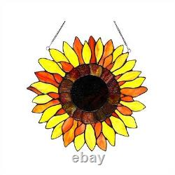 Handcrafted Sunflower Floral Design Tiffany Style Stained Glass Window Panel