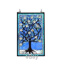 Handcrafted Tiffany Style Stained Glass Window Panel Tree of Life 20 W x 32 T