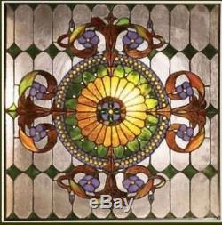 Handcrafted Window Panel Stained Glass 25 X 25 Great Colors! 569 Pieces Glass