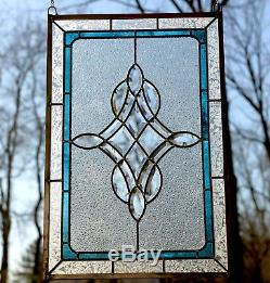 Handcrafted stained glass Clear Beveled window panel 16.75 x 24.75