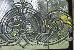 Handcrafted stained glass Clear Beveled window panel 34W x 20.5H
