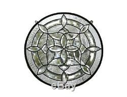 Handcrafted stained glass Clear Round Beveled window panel 21 Dia