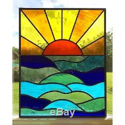 Handmade Stained Glass Window Door Panel Sun Set Sea Commissioned Windows