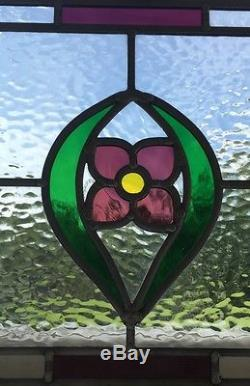 Handmade Stained Glass Window Door Panels Pink/purple Flower, Made To Order