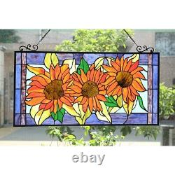 Helianthus Sunflower Tiffany Style Floral Stained Glass Window Panel Rich Colors