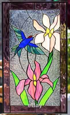 Hummingbird & Lillies Flowers Tiffany Stained Glass Window RV Window Panel 21x12