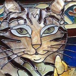 Imitation Stained Glass Cat Decor Window Panel Suncatcher Mama Cat With Kittens