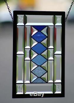 Inspirationel Blues Beveled Stained Glass Window Panel