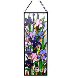 Iris Floral Stained Glass Hanging Window Panel Home Decor Suncatcher 31.5H