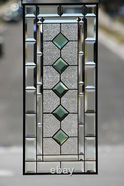 Jade -Beveled Stained Glass Window Panel- Hanging 28 3/8 x 12 1/2