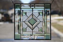 Jade-Beveled Stained Glass Window Panel, Ready to Hang 18 1/2-18 1/2