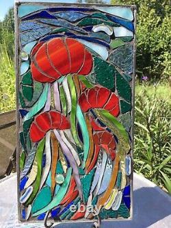 Jellyfish Mosaic Stained Glass Window Suncatcher Ocean Panel OOAK