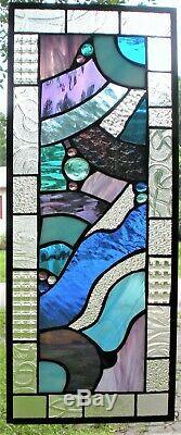 LA LA LAND 23-1/2 x 10-1/4 abstract stained glass window panel hangs 2 ways