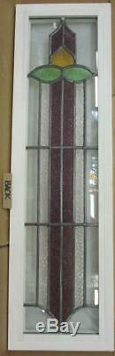 LARGE OLD ENGLISH LEADED STAINED GLASS WINDOW Tall Side Panel 12.25 x 41.75