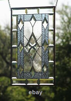 LAST one- OH BOY-Beveled Stained Glass Window Panel24 5/8 x 14 1/2