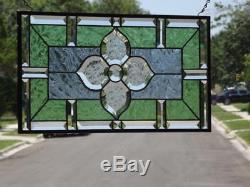 LOVE BLOOMSBeveled Stained Glass Window Panel 21 ½ x 11 ½