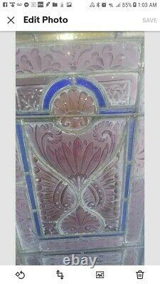 Large 1800's Auth. Antique Stained Glass Panel/Window From an Old Victorian