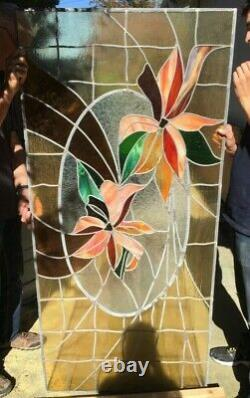Large 71x33.5 Leaded Stained Glass Window Panel Multicolor- Flower #2