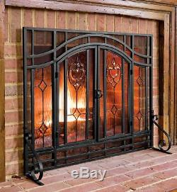 Large Beveled Glass Diamond Fireplace Screen With Alternating Panels And Smal